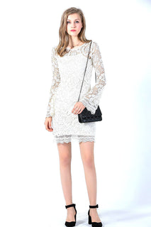 Ultrapink Missy Designer All Over Crochet Bell sleeve Shift Dress in Ivory