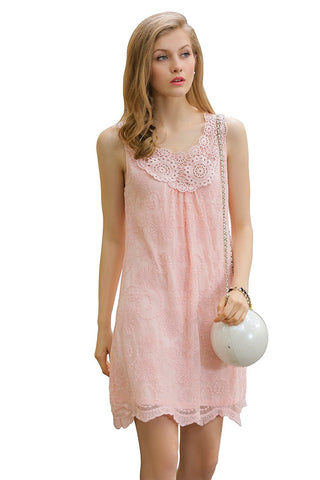 Ultrapink Missy Designer Sleeveless Embroidered Mesh Trapeze Dress Crochet