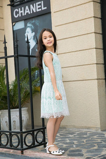 Ultrapink Girls Allover Lace Sleeveless Halter Banded Neck Fit n Flare Dress