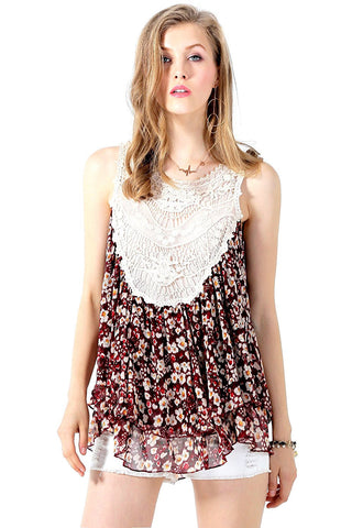 Tank Top with Crochet Bib Front