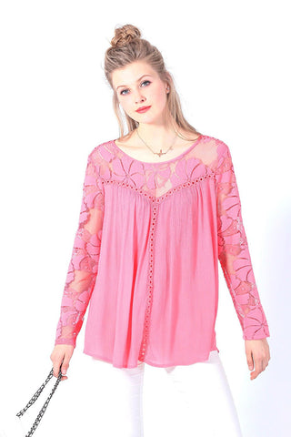 Long Sleeve Lace Yoke Crochet Inserts Blouse