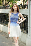 Ombre Fit n Flare Dress Crochet Bodice Lined