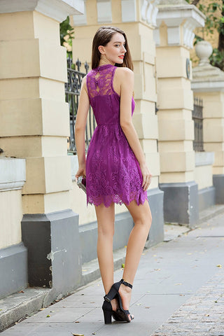 Halter Branded Mock Neck Sleeveless Lace Dress Lined