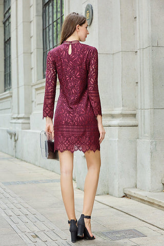 Two Tone Long Sleeve Lace Dress Mock Neck Lined