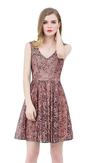 UP Ultrapink Junior Womens Woven Dress Metallic Floral Lace Print Fit and Flare