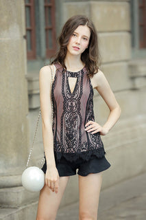UP Ultrapink Junior Womens Lace Tank Banded Neck Halter Contrast Lining