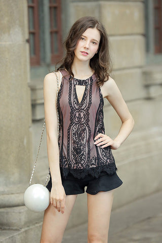 Lace Tank Banded Neck Halter Contrast Lining