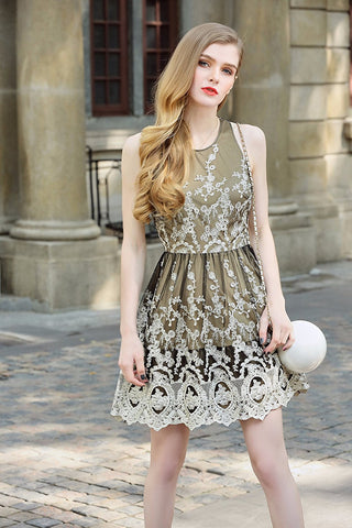 Heavy Gold Chandy Fit and Flare  Dress