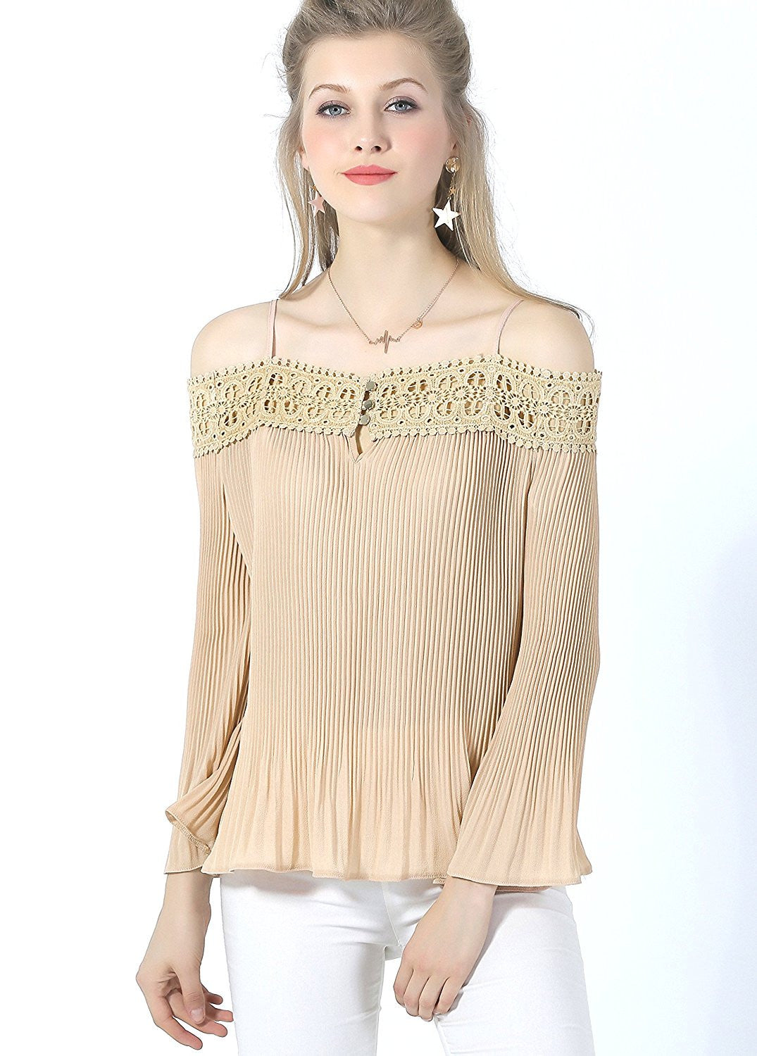 Spaghetti Straps Partially Pleated Georgette Lace Designer Top