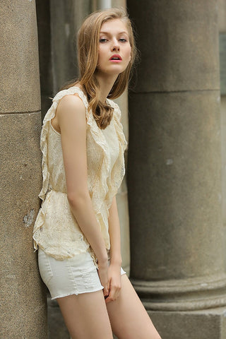 Ivory Sleeveless Peplum Top, Allover Lace Ruffle Front