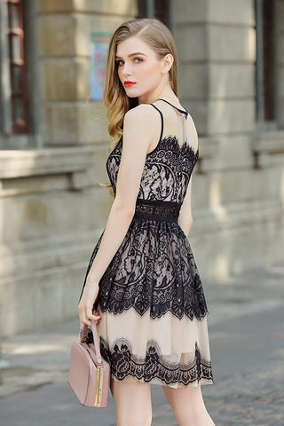 Lace Mesh Sheer Neck Tiered Hem Fit n Flare Dress