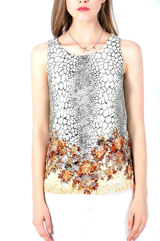 Sleeveless Floral Pattern Lined Designer Burnout Top