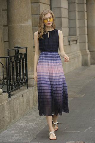 Sleeveless Midi Dress Ombre Stripes Designer Must Have