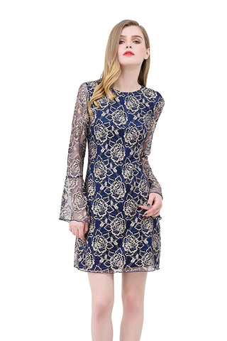 Metallic Floral Lace Print Fit and Flare Dress