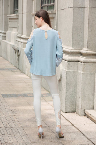 Crinkle Gauze Lace Blouse Long Cold Shoulder Sleeve
