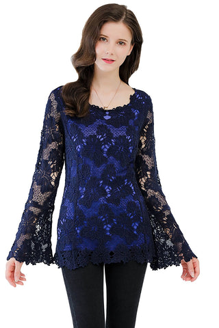 Long Sleeves Blouse Allover Crochet Lined