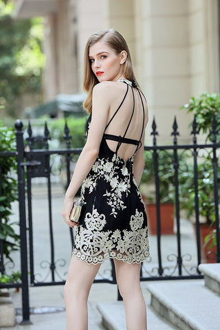 Halter Mesh Dress with Shimmer Floral Embroidery