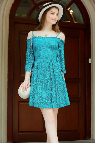 Allover Lace Spaghetti Dress Smocked Bust Fit n Flare