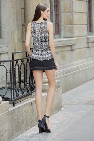 2 Tone Embroidery on Mesh Tank, Side Ties, Ruffle Hem
