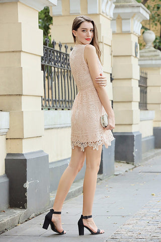 Sleeveless Crochet Dress, Zip Back