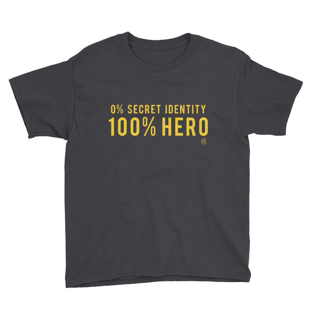 0% Secret Identity 100% HERO Black and Yellow Edition Youth T-Shirt