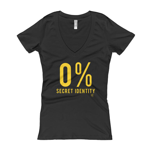 0% Secret Identity Black and Yellow Edition Women's V-Neck T-shirt