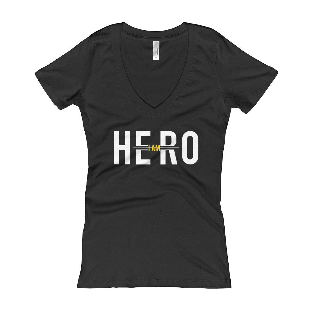 I Am Hero Official Black and Yellow Women's V-Neck T-shirt