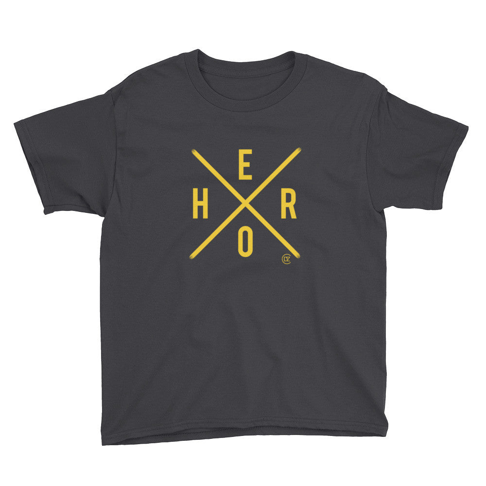X Marks The Hero V-Neck T-Shirt Black and Yellow Edition Youth T-Shirt
