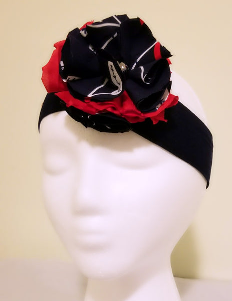 African Print Floral Headband- Blue & Red