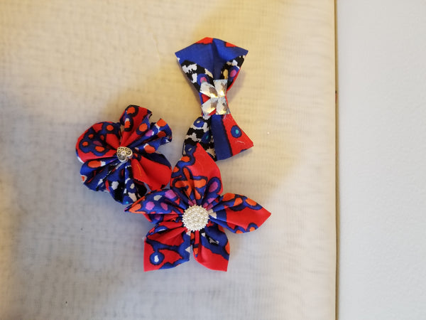 Mix of 3 Bright African print  flowers & bow headband & clips