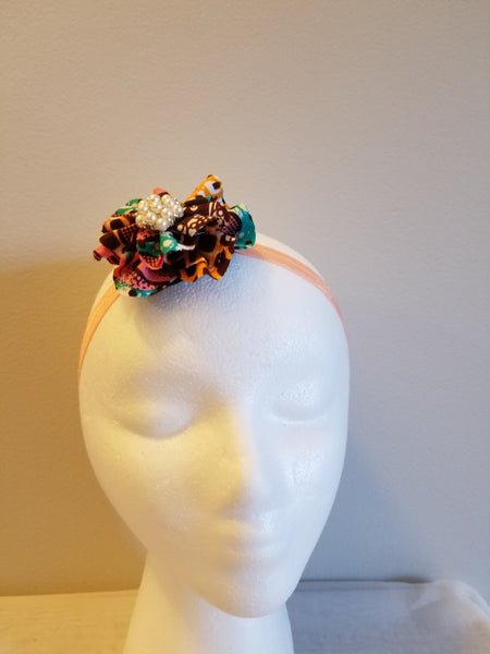 Mix of 3 Bright African print  pink flowers & bow headband & clips