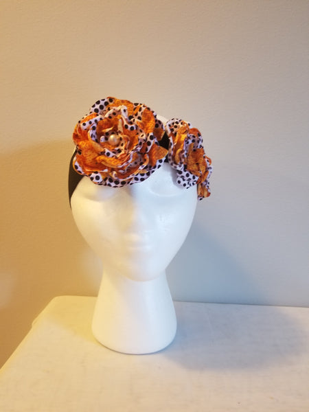 African Print Floral Headband - Yellow & Brown Polka dots