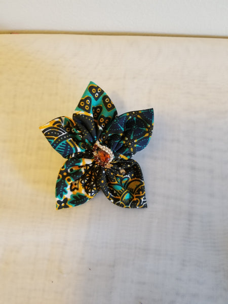 African Print Floral Headband - Green & Black