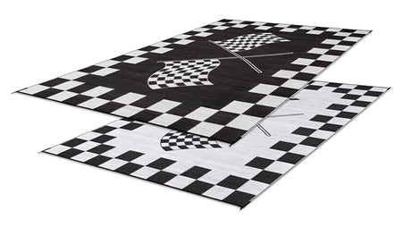 Black and White - Finish Line Design Patio Mat 6' X 9' 01-0448