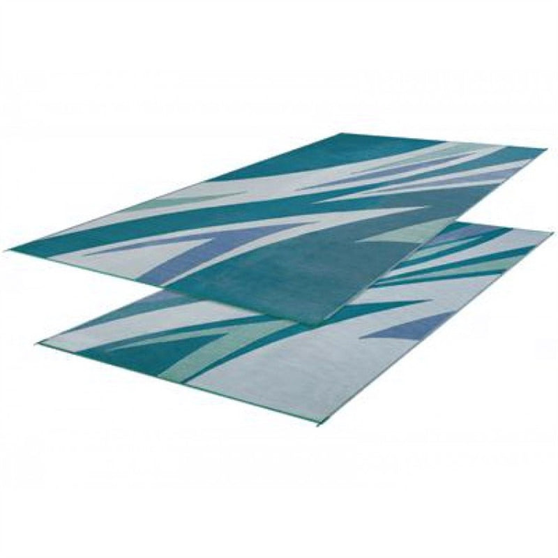 Green/Blue Summer Waves Patio Mat 8' X 16'