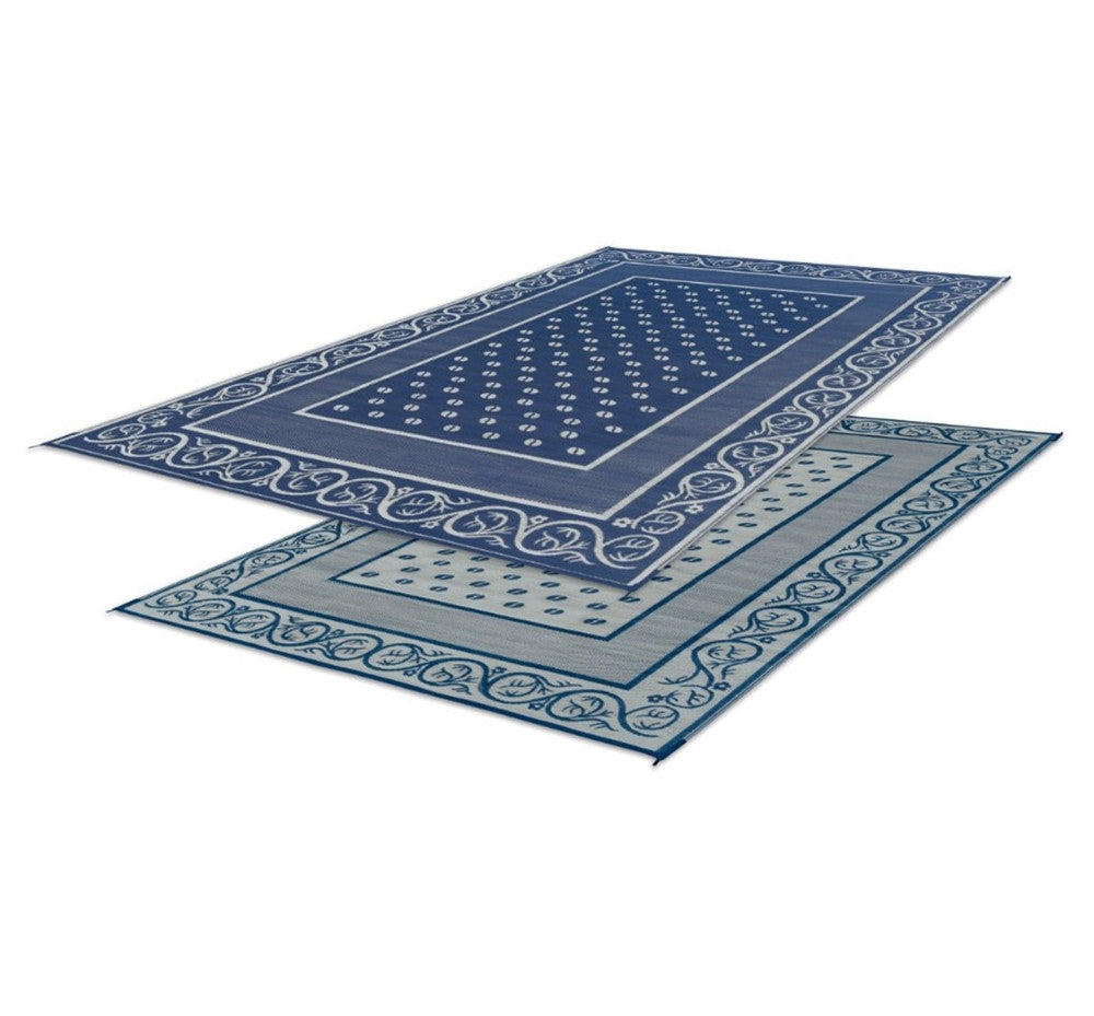 Reversible Vineyard RV Patio Mat - Blue - 6' X 9'