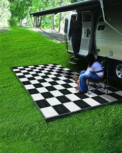 Checkered RV Patio Mat 9' x 12'