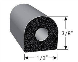 "Non Ribbed D Seal w/ Tape - Black w/ PSA - 50' Roll - 1/2"" x 3/8"" x 50' - 018-224"