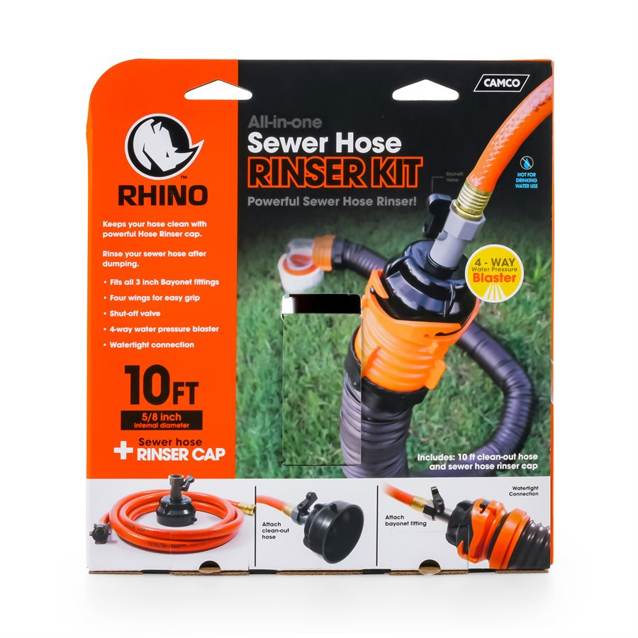 RhinoFlex 10' Clean Out Hose w / Rinser Cap - 22999