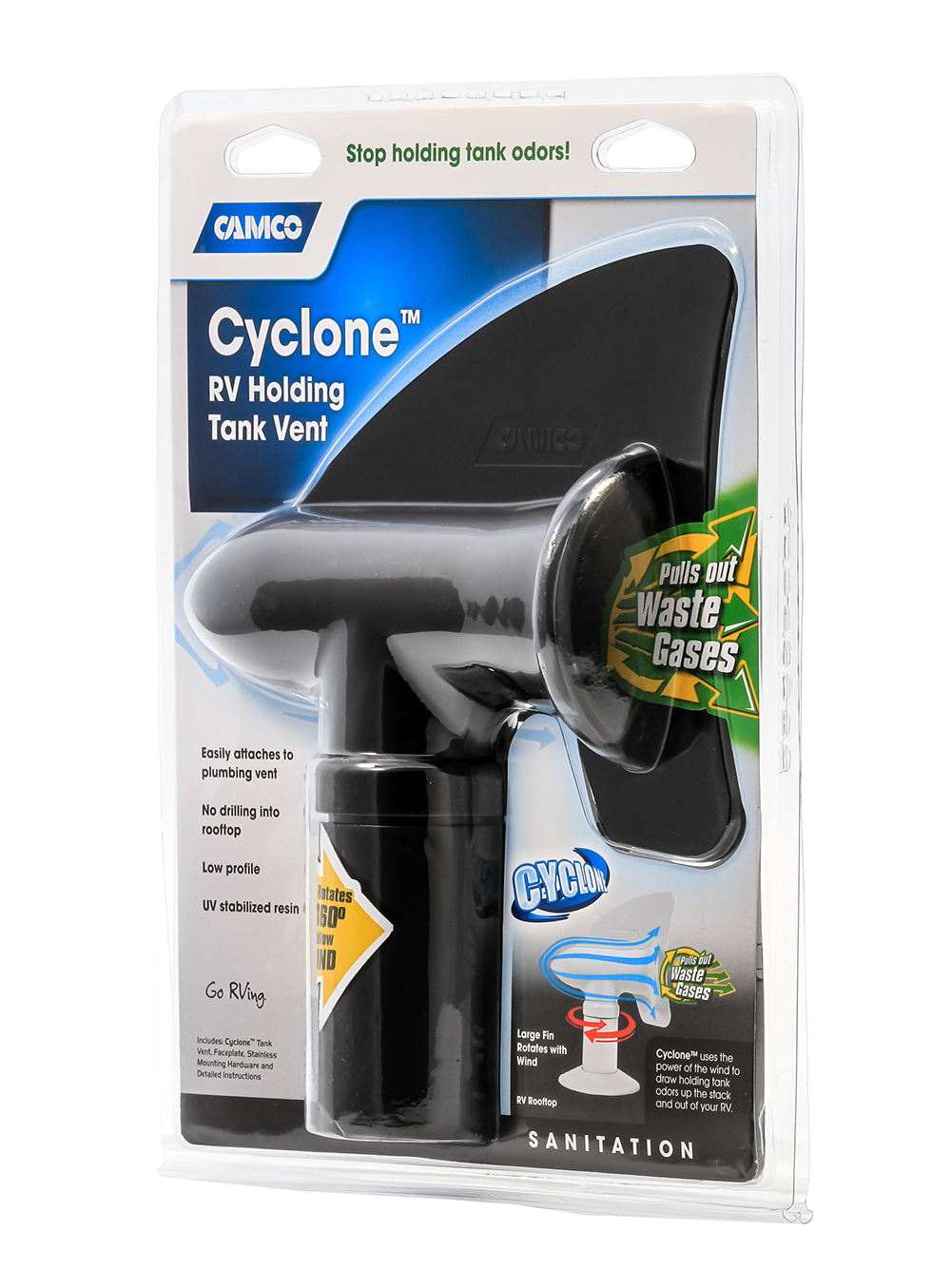 Cyclone RV Plumbing Vent - Black