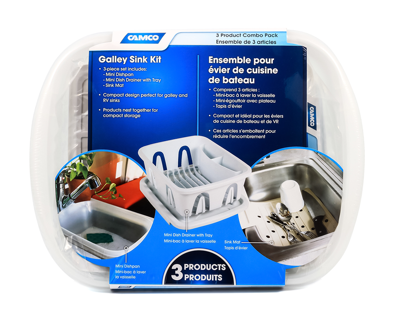RV Sink Kit with Dish Drainer - White