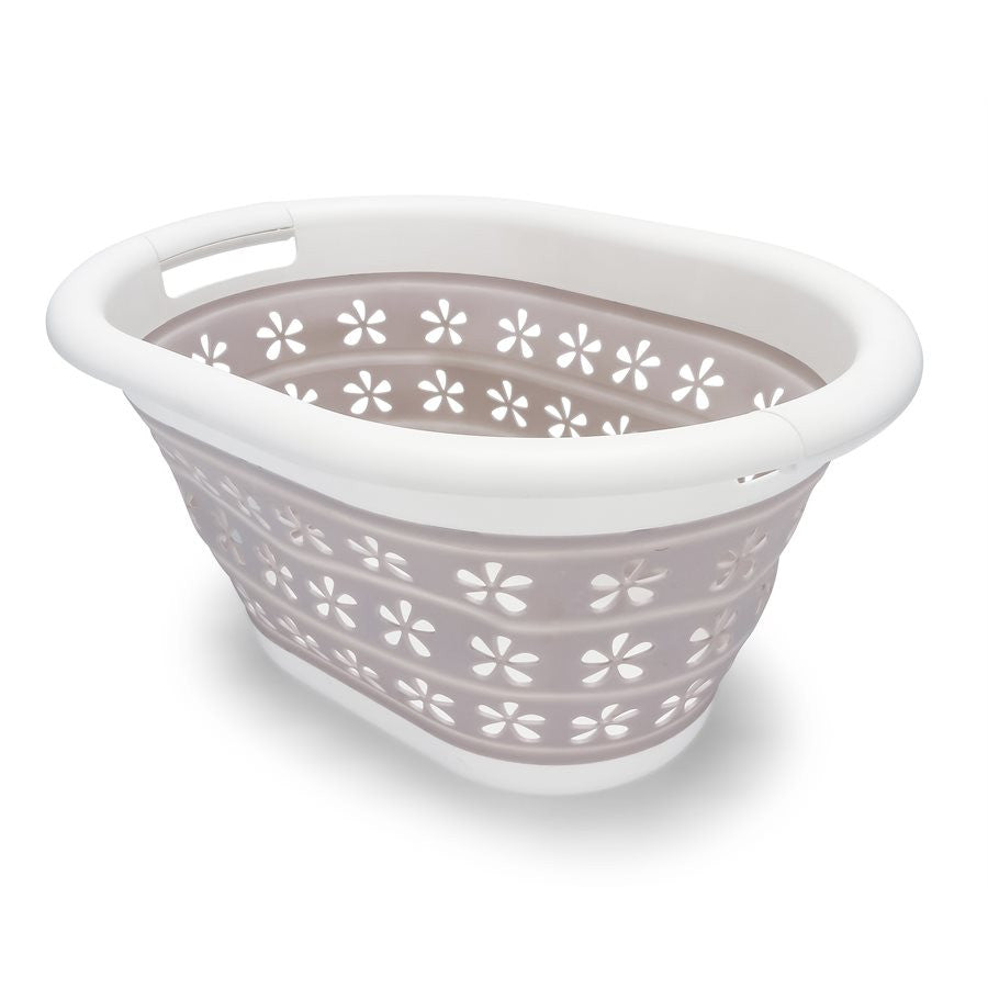 Collapsible Utility Basket - Small - White/Taupe
