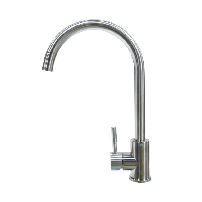 Curved Gooseneck Single Hole Faucet - Stainless Steel 719324