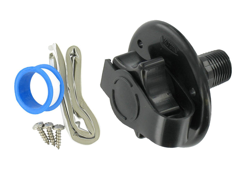 "City Water Inlet - 2-3/4"" - Flange - MPT - Black"