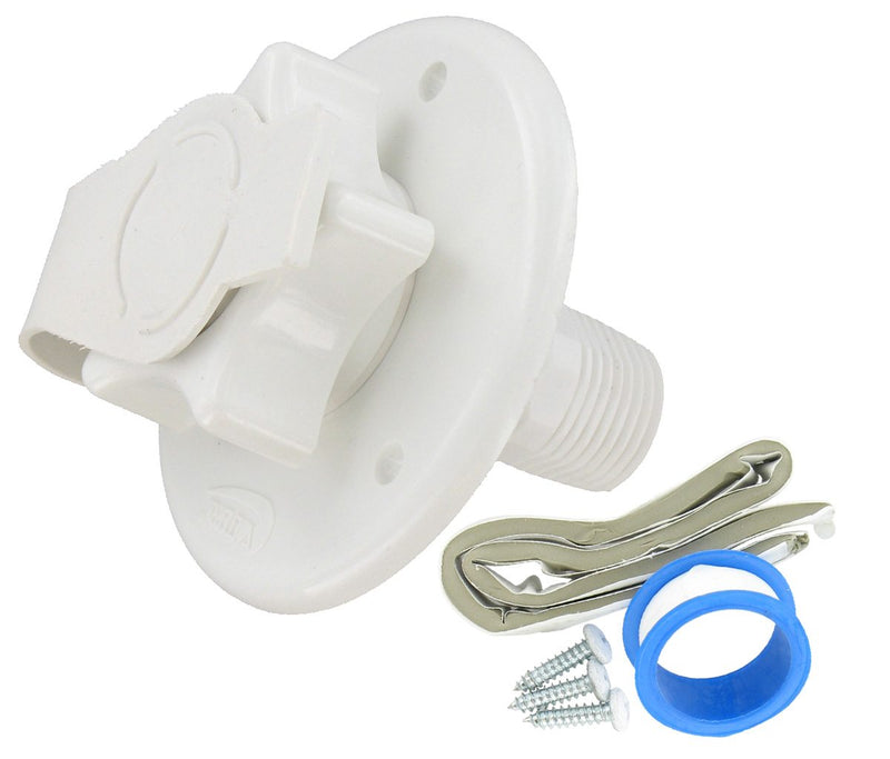 "City Water Inlet - 2-3/4"" - Flange - MPT - White  A01-0168VP"