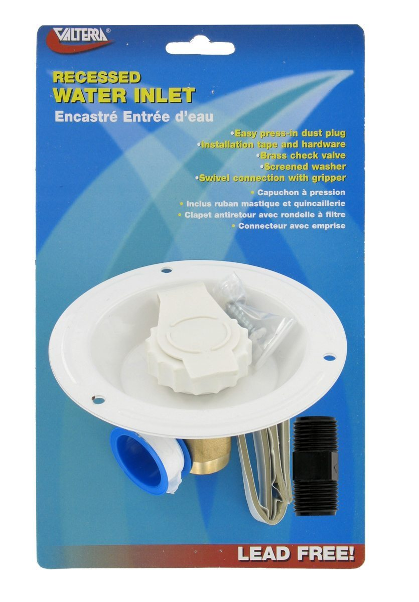 city water inlet recessed flange fpt white united rv