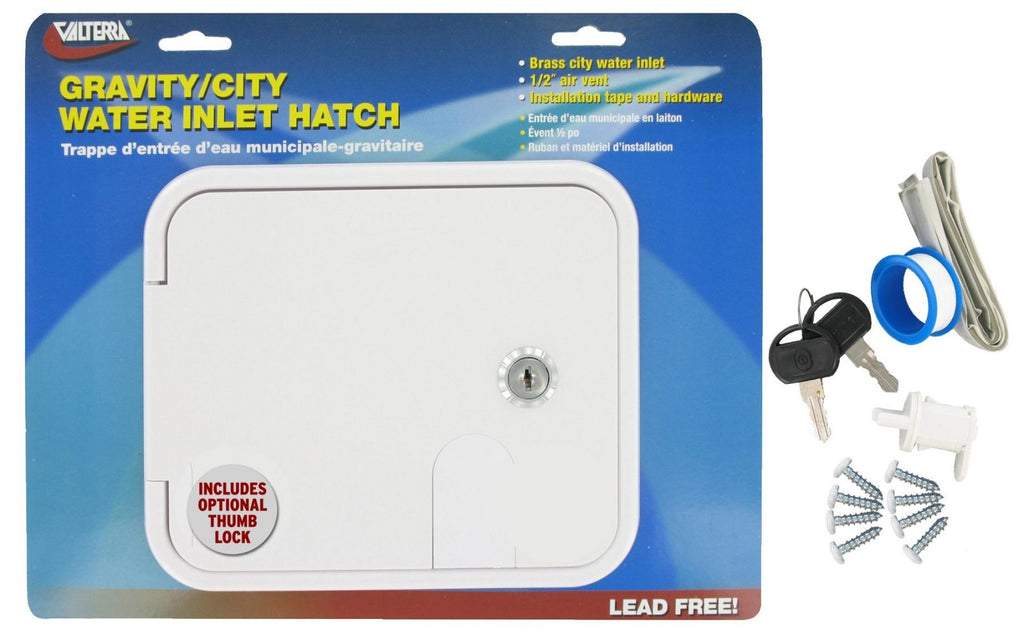 Gravity/City Water Inlet Hatch - Brass - White