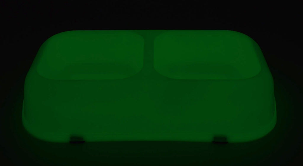 Glow-in-the-Dark Pet Bowl - Twin Bowl - Medium