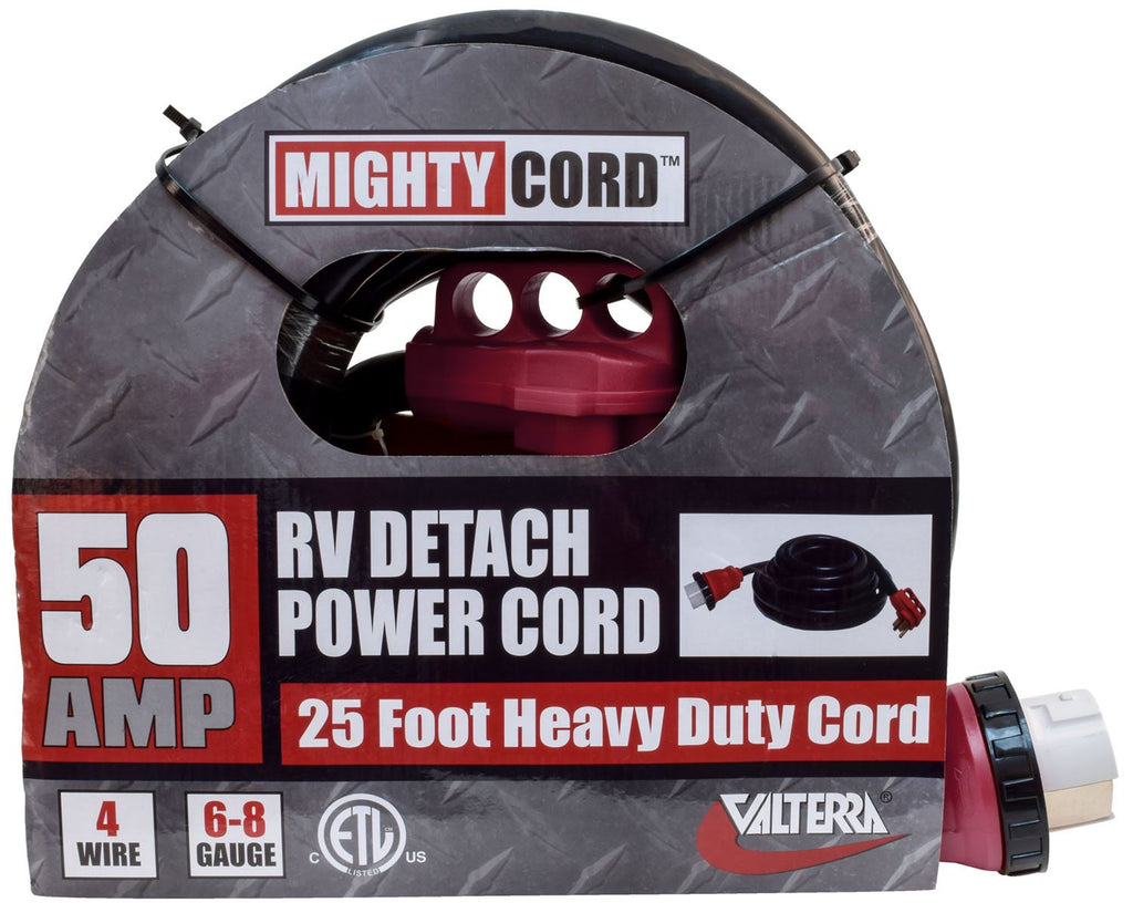 Mighty Cord - 50 Amp - 25' - Detachable Power Cord w/ Handle A10-5025ED