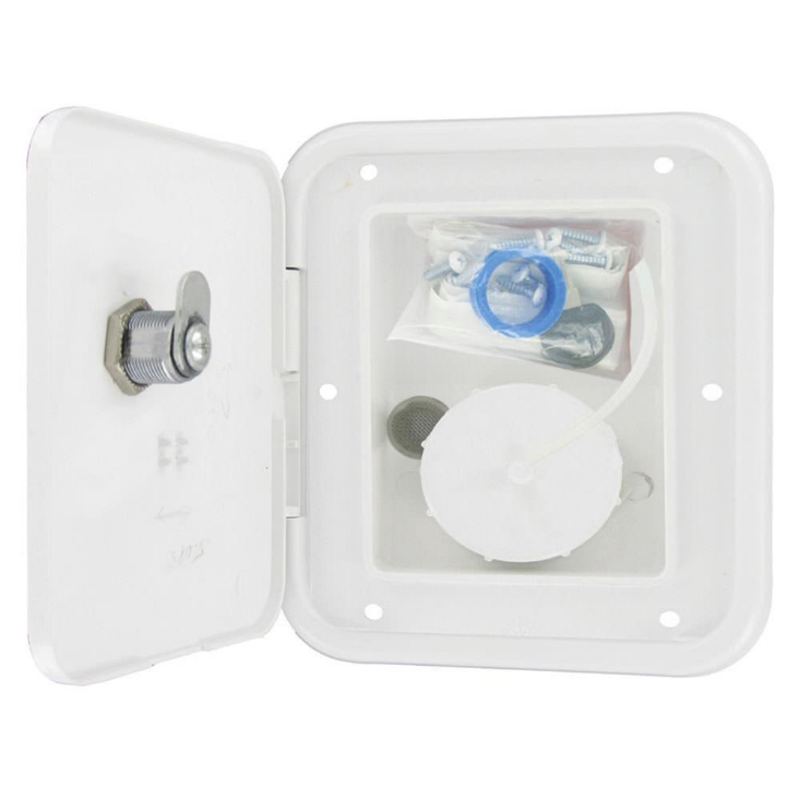 Gravity/City Water Inlet Hatch - Metal - White - Lockable